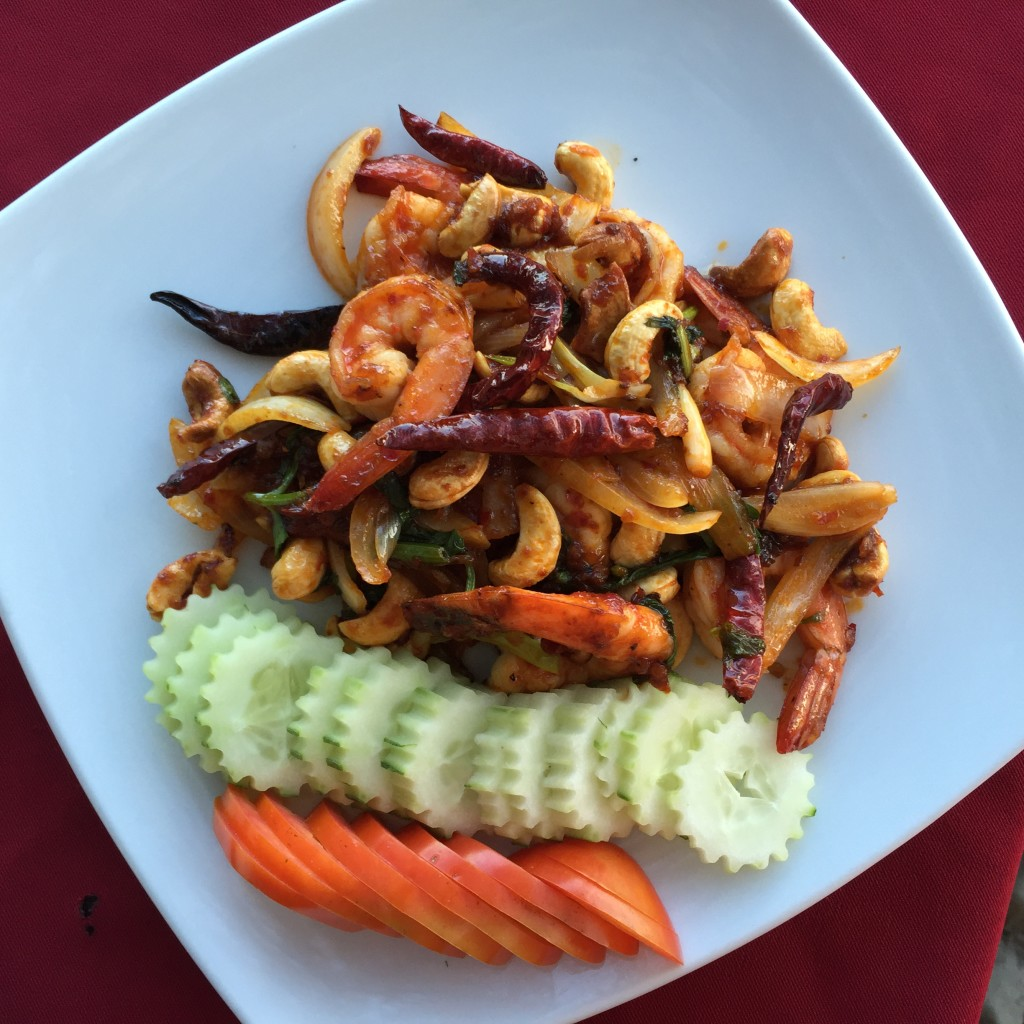 Stir fried prawns and cashews